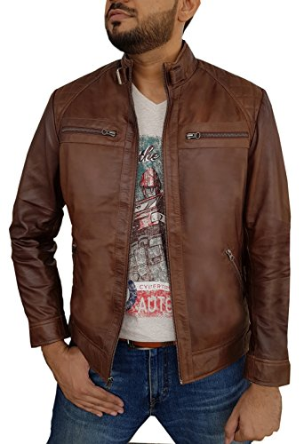 Urban Leather Factory Men's Hunt Distressed Brown Real Lambskin Leather Jacket M (Distressed Brown Leather Jacket)