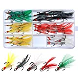 Round Bend Treble Hooks Black Nickel Hooks Feather Dressed Fish Baits Tackle Accessory