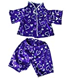 Dark Purple Silver Heart Pj's Teddy Bear Clothes Outfit Fits Most 14' - 18' Build-A-Bear, Vermont Teddy Bears, and Make Your Own Stuffed Animals