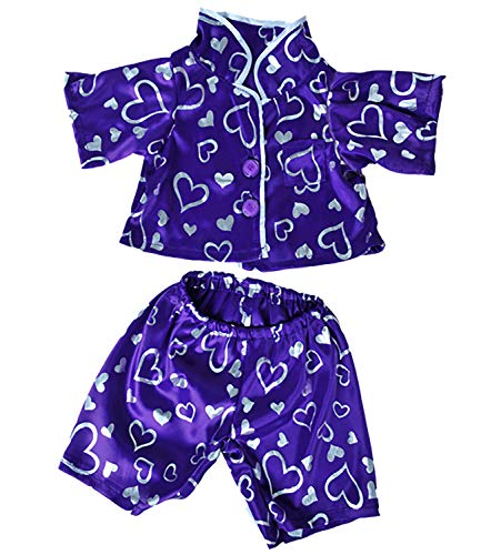 Pj Clothes Heart - Dark Purple Silver Heart PJ's Teddy Bear Clothes Outfit Fits Most 14
