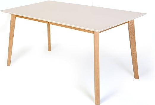 meubletmoi mesa escandinava extensible blanca 140/180 cm – Mesa de ...