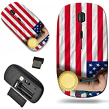 Luxlady Wireless Mouse Travel 2.4G Wireless Mice with USB Receiver, 1000 DPI for notebook, pc, laptop, macdesign IMAGE ID: 20355977 Winner holding gold medal for sport and national flag of us