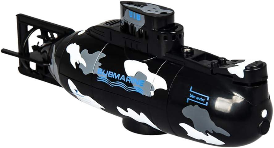 Toyvian Mini RC Submarine Control Remoto Barco Barco Modelo Militar 3.7V Juguete Electrónico de Agua Buceo a Prueba de Agua para Piscina Pecera Regalo para Niños (Negro)
