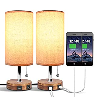 Dual USB Table Desk Lamp, Bedside Nightstand Lamp, Solid Wood Unique Lampshde,Convenient Pull Chain for Bedroom Living Room(Pack of 2)