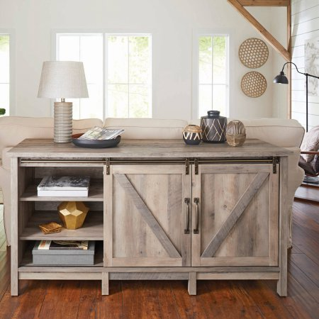 "Better Homes and Gardens Modern Farmhouse TV Stand/Entertainment Center for TVs up to 60"", Rustic Gray Finish from Better Homes and Garden"
