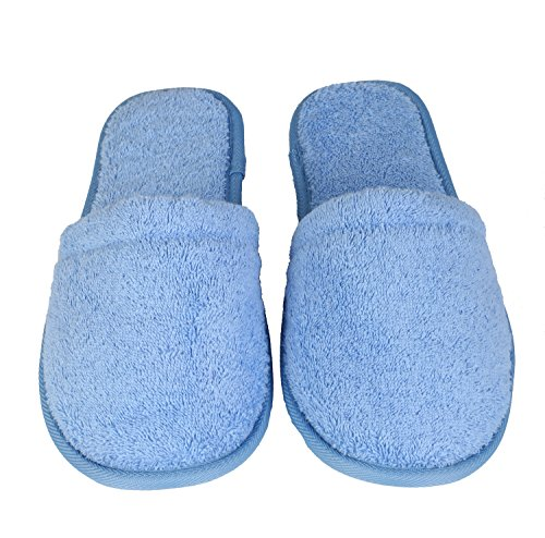 Arus Womens Turkish Organic Terry Cotton Cloth Spa Slippers One Size Fits Most, Sky Blue with Black Sole