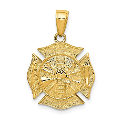 14k Yellow Gold Reversible Fire Department Shield Pendant Charm Necklace Career Professional Firefighter Man Fine Jewelry Gift For Dad Mens For Him ()