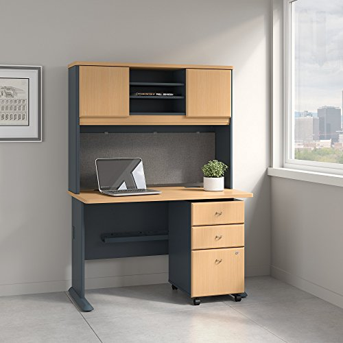 Bush Business Furniture Series A 48W Desk with Hutch and Mobile File Cabinet in Beech and ()