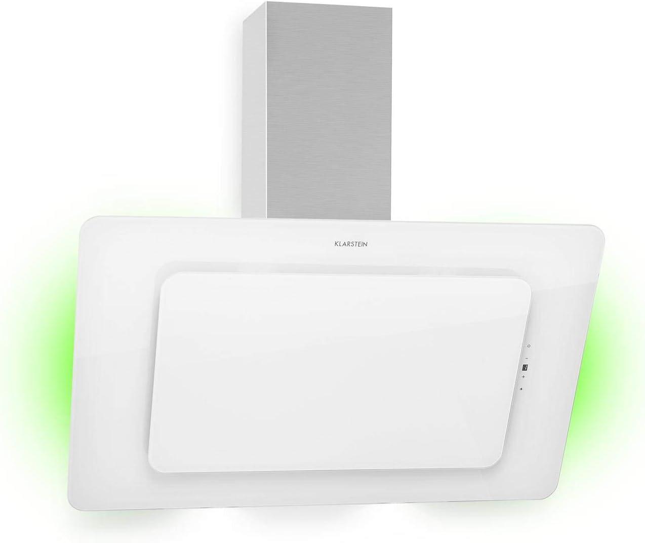Klarstein Helena 90 Campana extractora- de pared, 90 cm de ancho, 3 intensidades, 595 m³/h, Iluminación conmutable, Iluminación de ambiente opcional, 9 colores, Eficiencia energética clase A, Blanco
