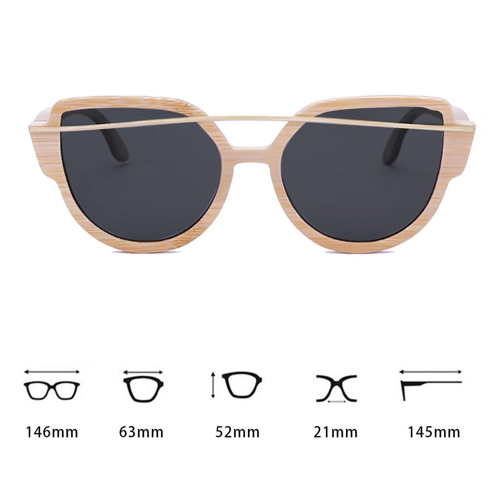 WISH CLUB Women Bamboo Wood Polarized Sunglasses Classic Cat Eye Floating Lightweight UV400 Glasses