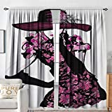 NUOMANAN Rod Pocket Curtains Girls,Woman Figure