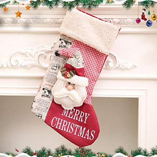 Poinsettia - 2019 Christmas Stocking Decoration Clothes Santa Socks Gift Candy Bags Kids Baby - Bag Christmas & Year Cloth Burlap Christma Claus Stockings Package Candy Bag Children Year ()