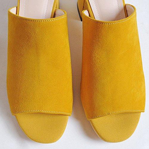 DécoStain talon ouvert mule femmes taille dames glissière à sandales dos jaune peep toe bloc rnr8dfxXqY