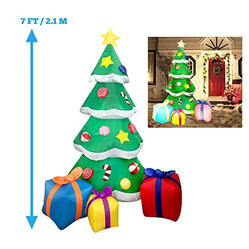 7 foot led light up giant christmas tree inflatable with 3 gift wrapped boxes perfect for blow up yard decoration indoor outdoor yard garden christmas