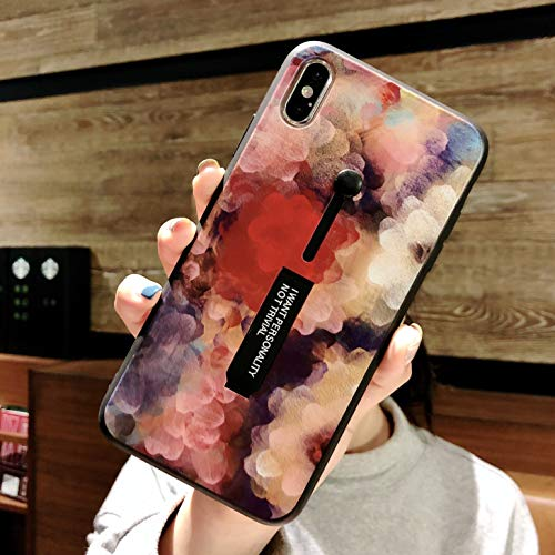 Omio for iPhone Xs Case Oil Painting Flower Petal Cute Loop Case Cover with Finger Strap Ring Holder Grip Kickstand Fashion Abstract Art Creative Slim Fit Bumper Protective Case for iPhone Xs X 10