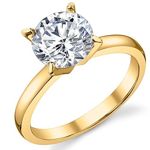 Gold Tone Over Sterling Silver 925 2 Carat Round Brilliant Cubic Zirconia CZ Wedding Engagement Ring 7