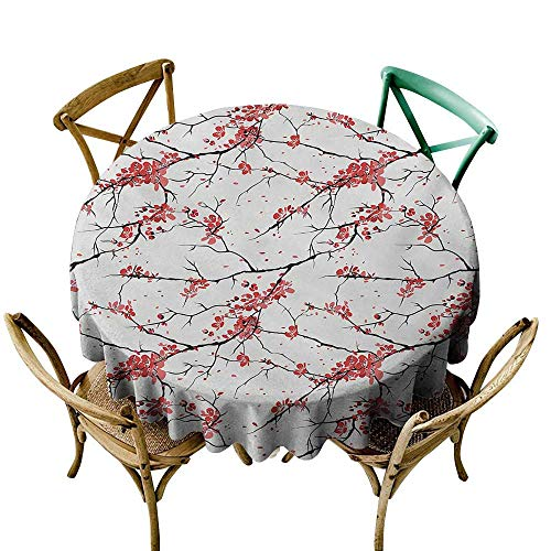 Party Tablecloth 48 inch Nature,Illustration of Sakura Branches Windy April Weather in Japanese Painting Style Art,Coral Black Indoor/Outdoor Spillproof Table Cloth