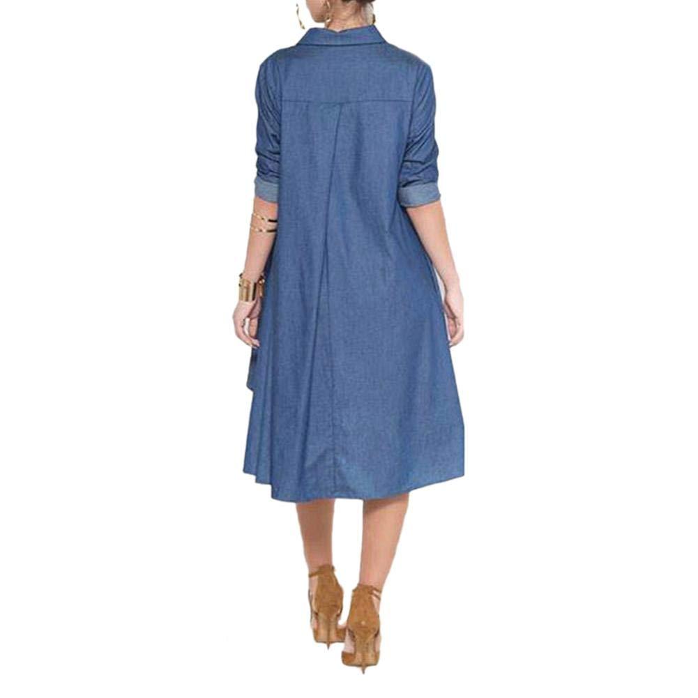 Ishine Womens Casual Denim Shirt Dress Long Sleeve Button Down