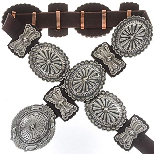 Navajo Sterling Silver Concho Belt Second Phase Hammered 0141 ()