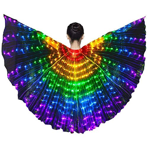 MOSTOP LED Butterfly Isis Wings Color Dancing Luminous Wings Costumes with Telescopic Stick for Belly, Stage Shows, Kids Children Girls