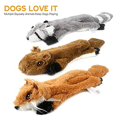 Peteast-3-Squeaky-Toys-and-3-Rope-Dog-Toys-No-Stuffing-Squeaky-Plush-Fox-Raccoon-Squirrel-Puppy-Chew-Teething-Rope-Toys-Set-for-SML-Dogs-Pets-Animals