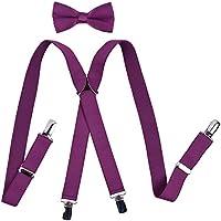 YJDS Men's Boys' Suspenders and Bow Tie Sets Adjustable X Back