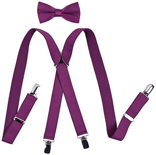 - YJDS Boys' Suspenders and Bow Tie Sets Solid Clips Purple 26 Inches