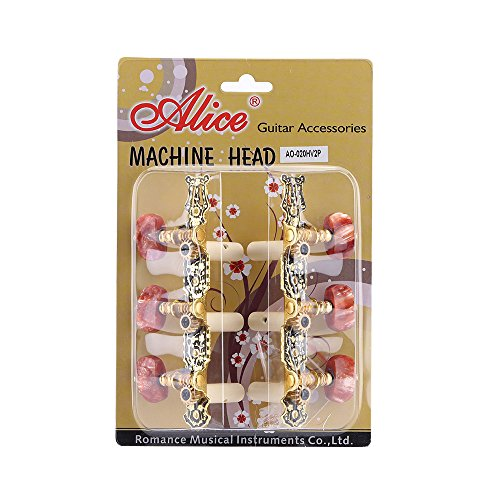 Alice AO-020HV2P 2pcs (Gauche + droite) Classique Guitare Tuning Clé Gold / Noir Plaqué Peg Tuner Machine Head (longue) Chaîne Tuner