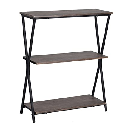 lillyarn 3 tier book shelves wood bookcase vintage industrial metal 3 shelf storage display - Industrial Metal Shelving