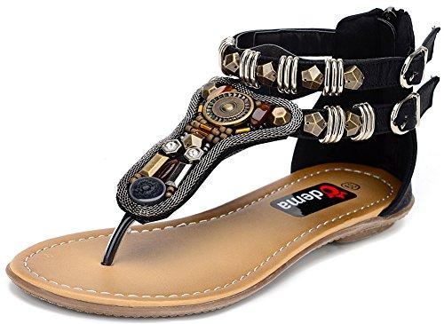 - Odema Summer Bohemian Coin Stud Back Zip Flat Womens Beach Thong Sandals, Black, 6 B(M) US