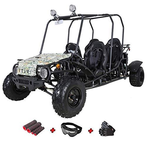 X-Pro 200cc Adult Gokart Dune Buggy Adults Go Cart Gokart 4 Seater Go Kart with Gloves, Google and Handgrip (Blue)