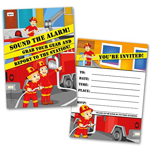 Party Invitation Cards | 20 Cards with 20 Envelopes | Fireman Themed | Made for Kids | Flat Style | Colorful Design | Birthday Invitations | Party Invitations | Invitation Card | Birthday Party Invitations