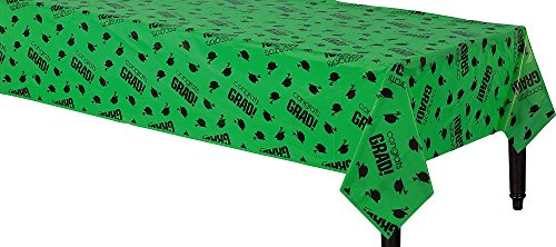 "Flying Colors Graduation Party School Colors Table Covers ‑ Green Tableware, Green, Plastic , 54"" x 84"""
