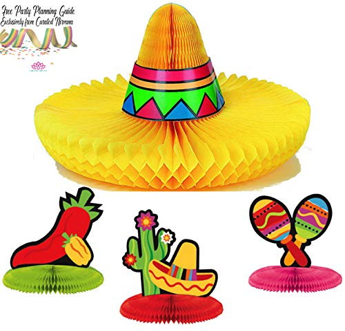 Curated Nirvana Cinco de Mayo Fiesta Centerpiece Party Bundle | Large Honeycomb Tissue Sombrero & Mini Centerpiece Decor | Great for Kids Birthday Party, Mexican-Themed Events, Table Decoration