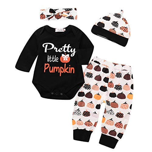 Baby Halloween Costumes 6-12 Months 4 Pieces Pumpkin Onesie Romper Set White and Black -