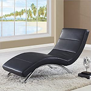 Global Furniture Ultra Bonded Leather/Metal Chaise Lounge with Black/Chrome Legs : buy chaise lounge - Sectionals, Sofas & Couches