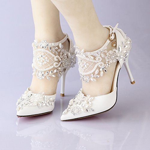 VIVIOO Sandals 5 Photo Bride Shoes Shoes Sandals Diamond Lace Pearl Shoes Prom Female Wedding High Heeled Pointed Wedding P4rwqUTP