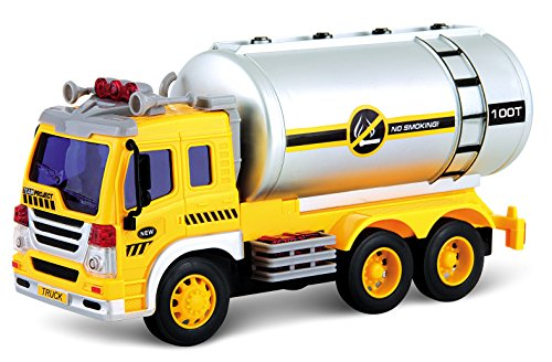 PowerTRC Friction Powered Oil Tanker Truck Toy | Push and Go Truck | Lights and Sound - Tanker Metal Oil