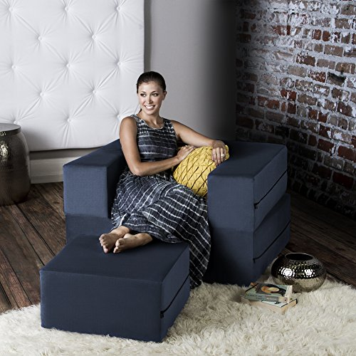 Jaxx Bean Bags Jaxx Zipline Convertible Sleeper Futon Chair & Ottoman with Machine-Washable Cover, Marine Marin Futon