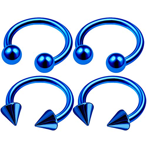 4Pcs Blue Anodized 14 Gauge 1/2 12mm Horseshoe Ring Men Piercing Jewelry Cartilage Daith Eyebrow Septum 4mm Ball Cone M4972 -
