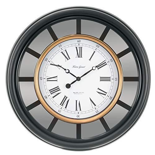 kieragrace Milan Oversized Clock with Mirror, 22in, Black with Copper