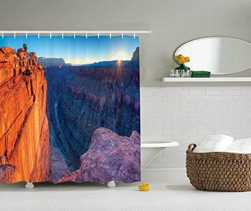 Blue Parka Set Polyester (Ambesonne USA Shower Curtain National Landmarks Decor, Sunrise in Grand Canyon National Park and Cliff River View Picture, Polyester Fabric Bathroom Shower Curtain Set with Hooks, Orange Blue)