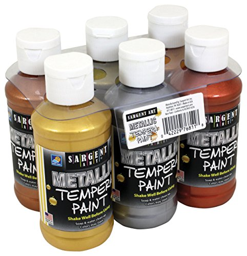 Sargent Art 17-6811 6 Pack 4oz Metallic Tempera Paint Set