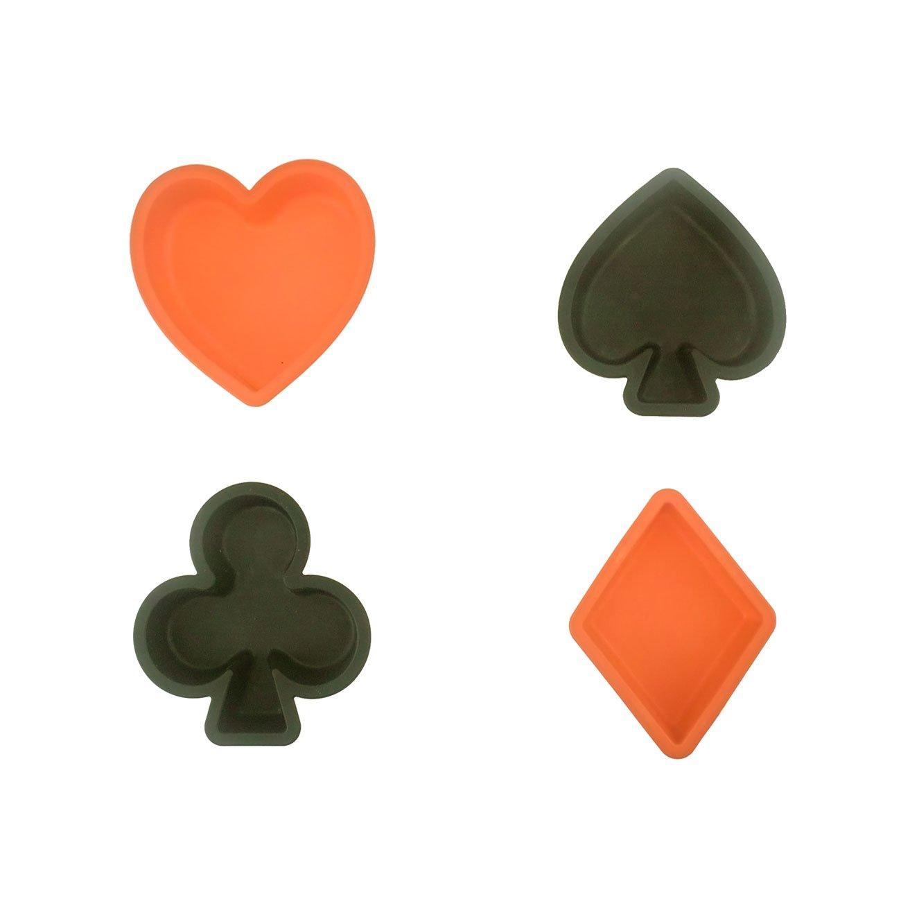 Moldes de pastel de silicona Muffin casos, Silivo 4 Pack Bakeware conjunto de póker en forma de 3.15