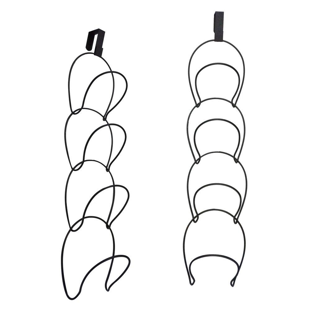 Queens Set of 2 Black Metal Wire Over-The-Door Stackable Hat Rack/Clothes, Bag, Scarf Hanging Storage Hooks