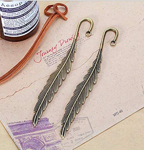 Fiyuer 15 Pezzi Segnalibri in Metallo segnalibro Piuma ibetano piuma metallo Argento Perline Piuma Fai Decorazione Creativa Libro Marcatore