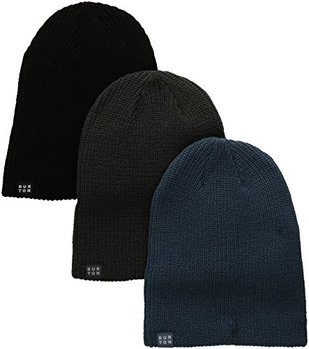 Burton Men's DND Beanie 3-Pack, True Black/Faded/Washed Blue, One Size