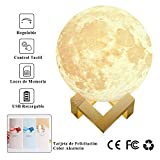 Large! 5.9'/15cm Full Moon Lamp LED 3D Printing USB Rechargeable Stepless Dimmable Luna Night Light Touch Sensor 2 Brightness White/Warm Modern Floor Desk Home Decorative for Kid Bedroom Novel