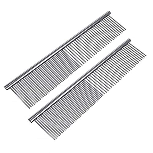 (Petsvv 2 Pack Pet Stainless Steel Grooming Dog Cat Comb Tool)