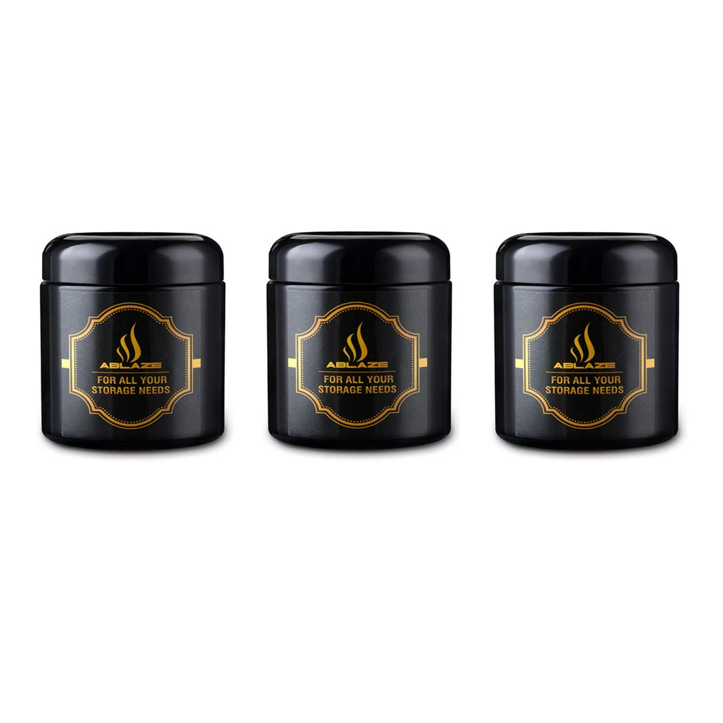Ablaze 3-Pack Jars 120ml Black Stash UV Glass Jar - Smell-Proof Ultraviolet Storage Stash Jar Container Refillable Tall Wide-Mouth